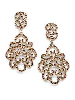 Kenneth Jay Lane - Glass Crystal Filigree Earrings/Gold Multi