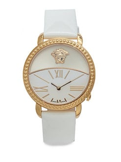 Versace - Rose Goldtone Stainless Steel & Leather Watch