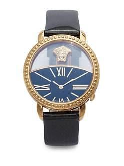 Versace - Krios Goldtone Stainless Steel & Leather Watch