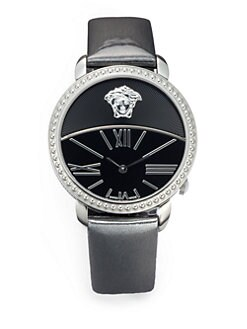 Versace - Krios Stainless Steel & Patent Leather Watch