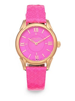 Versace - Dafne Rose Gold IP Stainless Steel & Elaphe Watch/Pink