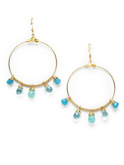 Susan Hanover Designs - Quartz Hoop Earrings/Blue