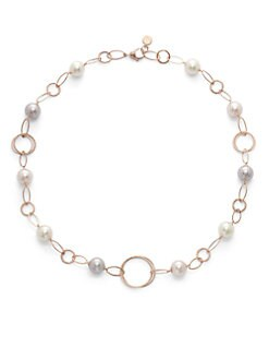 Majorica - 12MM White & Nuage Round Pearl Rose Gold Vermeil Link Necklace
