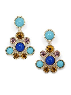 Kenneth Jay Lane - Circular Chandelier Earrings/Blue