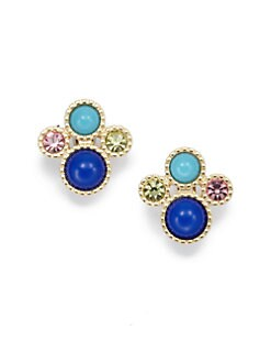 Kenneth Jay Lane - Circular Cluster Earrings/Blue