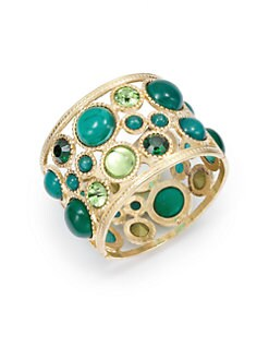 Kenneth Jay Lane - Cutout Circle Cuff Bracelet/Emerald