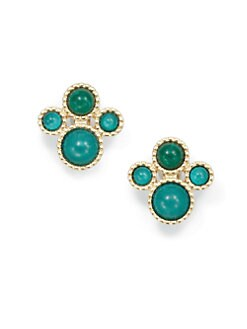 Kenneth Jay Lane - Circular Cluster Earrings/Emerald