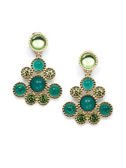 Kenneth Jay Lane - Circular Chandelier Earrings/Emerald