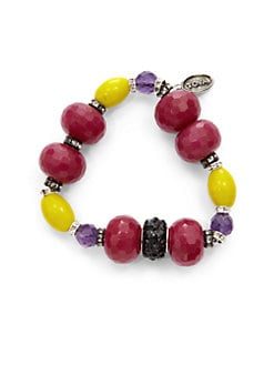 TOVA - Jade & Amethyst Clay Bead Bracelet