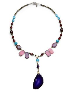TOVA - Jade & Agate Beaded Y Necklace