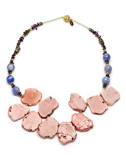 TOVA - Agate & Lavender Bead Necklace