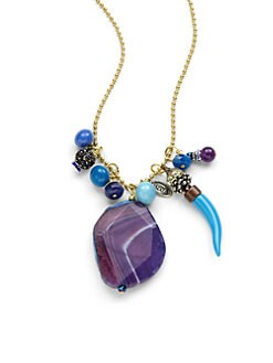 TOVA - Agate Stone & Horn Necklace