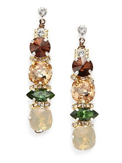 TOVA - Rounded Swarovski Crystal Drop Earrings