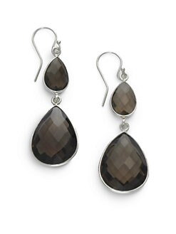 NuNu - Double Teardrop Earrings/Smoky Quartz
