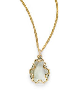 NuNu - Teardrop Bezel Necklace/Green Amethyst
