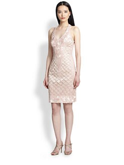 Sue Wong - Embroidered Halter Sheath Dress