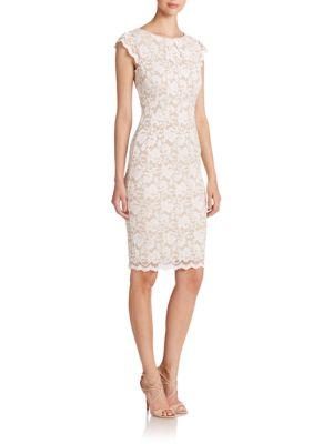Lace Cap-Sleeve Sheath Dress