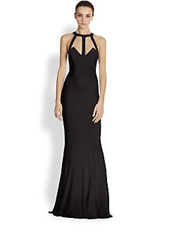ABS - Caged Two-Tone Jersey Gown