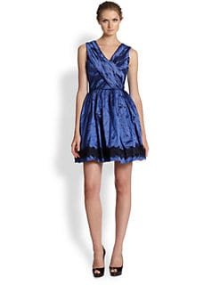 Nicole Miller - Lace-Trim Party Dress