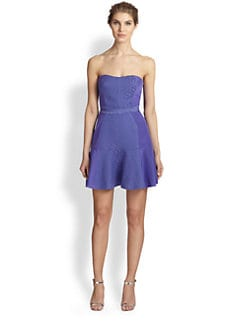 Rebecca Taylor - Strapless Cotton & Silk Cloque Insert Dress