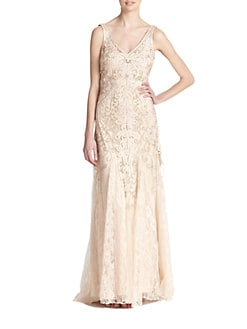 Sue Wong - Embroidered V-Neck Chiffon Gown