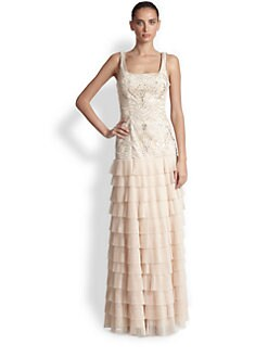 Sue Wong - Embroidered Tiered-Skirt Gown