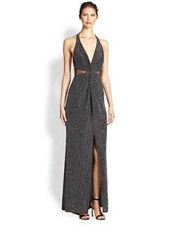 ABS - Twist-Front Halter Gown