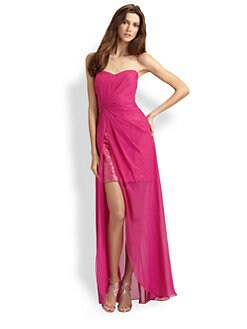 Aidan Mattox - Sequined Silk Chiffon Strapless Dress