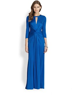 ISSA - Silk Jersey Long Sleeve Gown