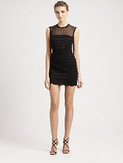 Nicole Miller - Tiered Lace Illusion Dress