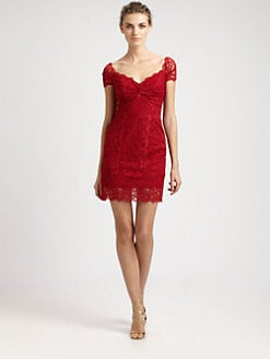 Nicole Miller - Off-The-Shoulder Lace Dress