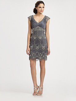 Sue Wong - Embellished Champagne Dress