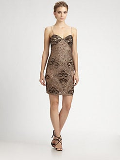 Aidan Mattox - Beaded Silk Slip Dress