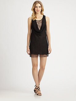 Aidan Mattox - Lace Draped-Front Dress