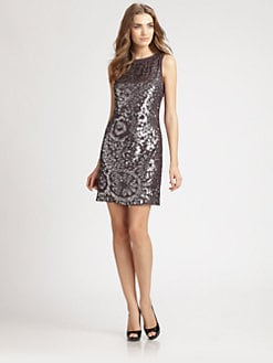 Aidan Mattox - Sequined Embroidery Dress