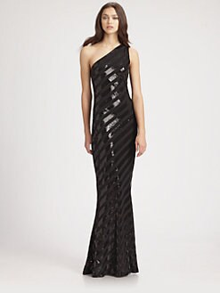 David Meister - Striped Sequined Gown