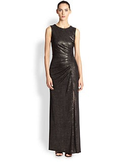 ABS - Sleeveless Metallic Gown