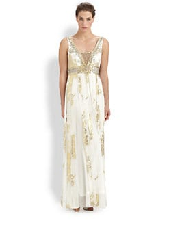 Sue Wong - Beaded Silk Jacquard Gown