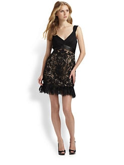 Sue Wong - Beaded Feather Hem Dress