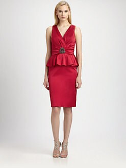 David Meister - Satin Peplum Dress