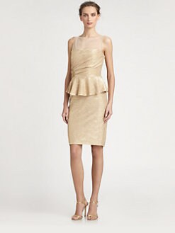 David Meister - Metallic Illusion Peplum Dress