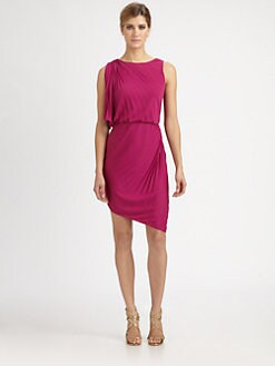 Halston Heritage - Asymmetrical Pleated Dress