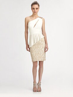 Aidan Mattox - One-Shoulder Peplum Dress