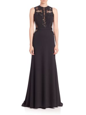 Crepe Embroidered Gown