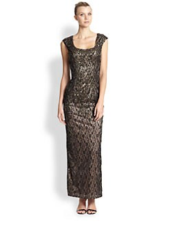 Sue Wong - Sequined Lace Cap-Sleeve Gown
