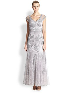 Sue Wong - Embroidered Cap-Sleeve Gown