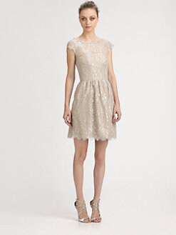 Aidan Mattox - Metallic Lace Dress