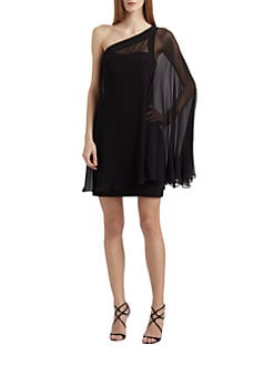 Aidan Mattox - One-Shoulder Chiffon Cocktail Dress