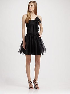 ABS - Strapless Silk Cocktail Mini Dress