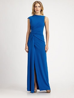 Halston Heritage - Asymmetrical Ruched Gown